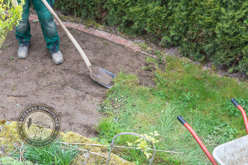 removing grass before laying down gravel