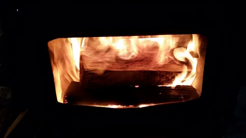 wood burning in a hot wood stove