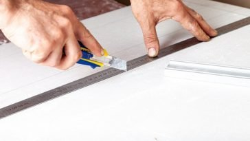 cutting ceiling tile with utility knife