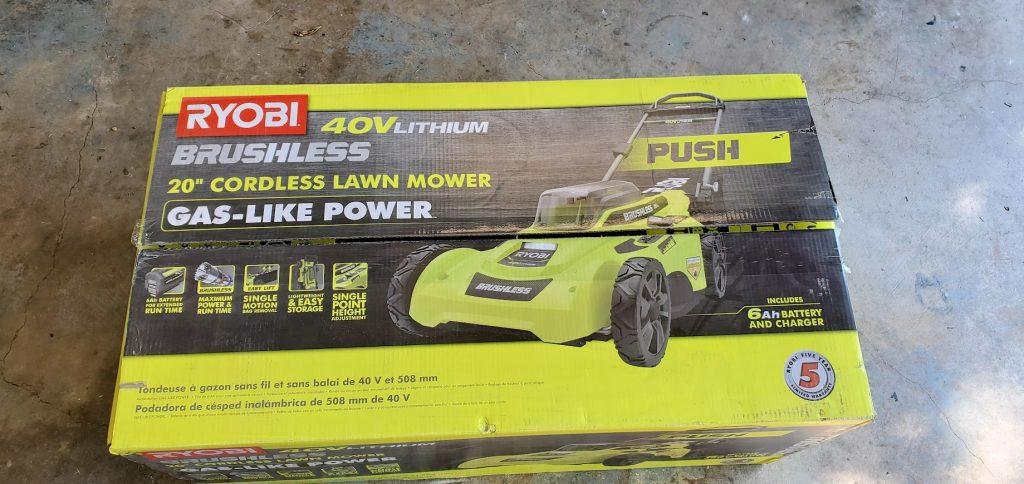 unboxing of ryobi 20 inch 40V brushless electric cordless mower