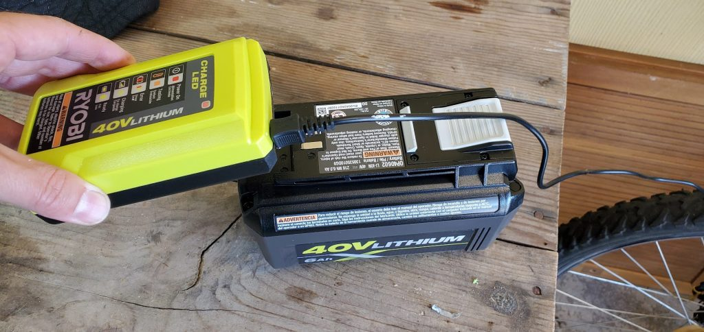 how to charge ryobi 40V battery